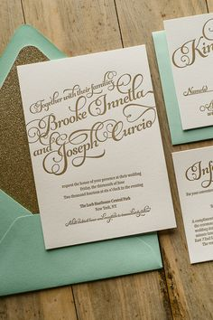 KATHRYN Suite Glitter Package, mint and gold, beautiful script wedding invitations, letterpress wedding invitations, elegant wedding invitations, glitter wedding invitations