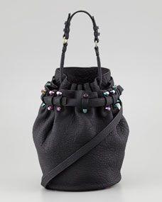 Diego Bucket Bag, Black/Iridescent