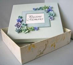 I was given a Christmas present in this box a couple of years ago and I thought the box itself was so lovely I would keep it (I am a bit of . Box Packaging, Keepsake Boxes, Scrapbook Cards, Christmas Presents, Ravelry, Decorative Boxes, Place Card Holders, Frame, Gifts