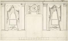 Abraham Meertens   Ontwerp voor kamerversiering met twee panelen met obelisken en portretmedaillon boven deur, Abraham Meertens, 1767 - 1823   Ontwerp voor een wanddecoratie.