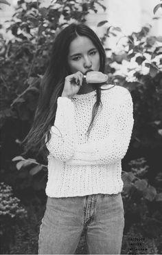 Simple Sundays, knit sweater, jeans & beautiful long hair.