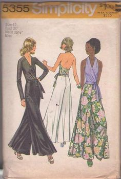 MOMSPatterns Vintage Sewing Patterns - Simplicity 5355 Vintage 70's Sewing Pattern STONE FOX Disco Party V Neck Wrap Around Blouse, Bare Back Halter Top, FLARED Bell Bottom Palazzo Long Pants Size 12 Tie Blouse, Wrap Blouse, Simplicity Sewing Patterns, Vintage Sewing Patterns, Sewing Ideas, Flare Pants Pattern, Wide Leg Palazzo Pants, Retro Pattern, Retro Fashion
