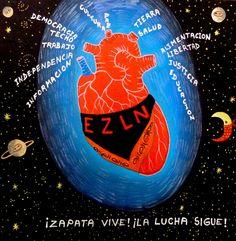 EZ★LN Zapatista - Corazón del Mundo - obra artística de Camilo (pintor campesino zapatista) - http://elblogdegiap.wordpress.com/2014/08/18/no-es-solo-la-obra-sino-tambien-su-sistema-el-arte-que-nos-interesa