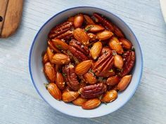 Get Warm Bar Nuts Recipe from Food Network No Cook Appetizers, Appetizer Dips, Appetizers For Party, Appetizer Recipes, Nut Recipes, Snack Recipes, Football Finger Foods, Light Snacks, Salty Snacks