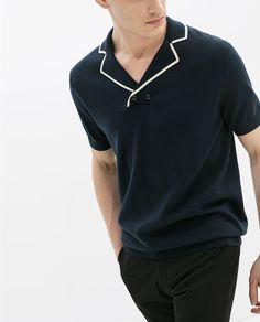 Sailor collared shirt with white lining Camisa Polo, Polo T Shirts, Collar Shirts, Polo Shirt Design, Polo Shirt Style, Men's Fashion, Fashion Flats, Fashion Tips, Men Dress