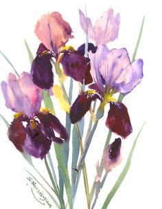 Deep purple  Pink Irises, Original watercolor painting 15 x 12 in, bright blue watercolor irises painting, blue irises, ultramarine blue by ORIGINALONLY on Etsy