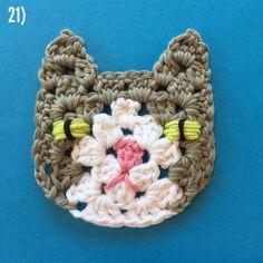 Part 6 - Grannysquare Cat - free pattern on instagram from @ suregal27 - Rico Design Creative Cotton Aran weight, 5mm hook.