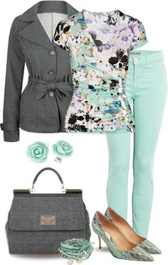"""Mint Jeans"" by yasminasdream ❤ liked on Polyvore"