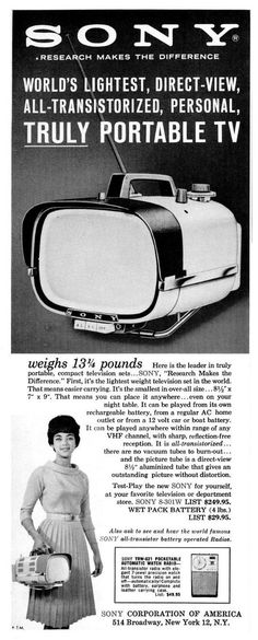 1960 Vintage Sony 8-301W Portable Transistor TV Via: 1 | 2