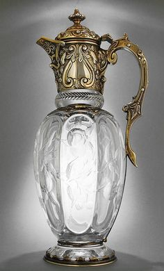 Claret jug, Gold & Silversmith Co. Antique Glass, Antique Silver, Art Nouveau, Cut Glass, Glass Art, Bronze, Glass Ceramic, Perfume Bottles, Calla Lilies