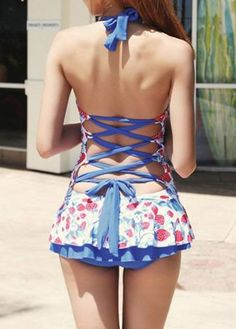 Blue Strawberry Print Halter Bandage One-Piece Lace Up Cute Swimwear For Women
