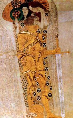 Gustav Klimt - fregio di Beethoven: anelito della felicità. Il Cavaliere, guidato da Compassione e da Orgoglio, intraprende la lotta verso la felicità.