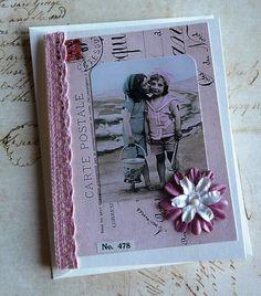 Vintage Photo Two Children on Beach Handmade Card