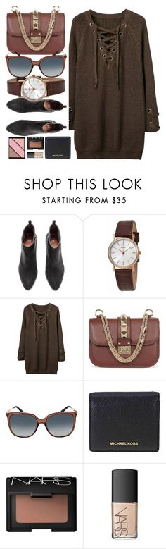 """""""Dark Colors"""" by jomashop ❤ liked on Polyvore featuring Bulova, WithChic, Valentino, Gucci, Michael Kors, NARS Cosmetics, Elizabeth Arden and brown"""