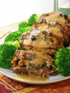 Baked Stuffed Pork Chops with Moscato Gravy