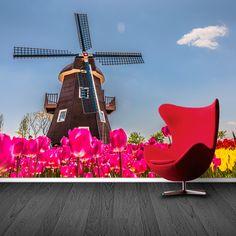 Fotobehang Hollandse molen met bollenveld   Maak het jezelf eenvoudig en bestel fotobehang voorzien van een lijmlaag bij YouPri om zo gemakkelijk jouw woonruimte een nieuwe stijl te geven. Voor het behangen heb je alleen water nodig!   #behang #fotobehang #print #opdruk #afbeelding #diy #behangen #holland #nederland #molen #bloembollenveld #bloembollen #veld #bloemen #bloem #tulpen #roze