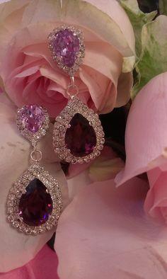 Σκουλαρίκια κρεμαστά σε αποχρώσεις του αμέθυστου Ear Rings, Diamond Earrings, Jewellery, Fashion, Moda, Earrings, Jewels, Fashion Styles, Ear Piercings