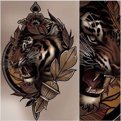 Id like this style but as a lion Tattoo Sketches, Tattoo Drawings, Body Art Tattoos, Cool Tattoos, Neo Tattoo, Tiger Tattoo, Art Flash, Street Tattoo, Rosen Tattoos