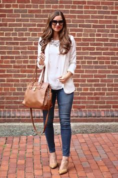 White Blazer & White Top with Nude Accessories and Jeans