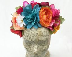Valentines Day Flower Crown Frida Kahlo by BloomDesignStudio