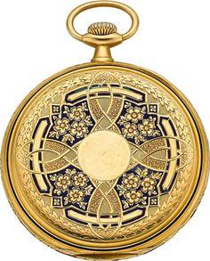 Timepieces:Pocket (post 1900), Longines 18k Gold & Enamel Pocket Watch, circa 1910. ... Image #1