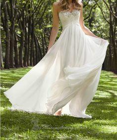 White / ivory chiffon wedding dresses, beaded bridal dress, chiffon prom dress Pageant dress train free shipping