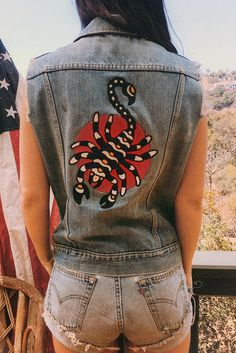 THE SCORPION Chain-Stitched One Of A Kind Patched and Pinned Denim Vest