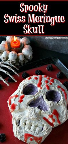With its marshmallowy texture and strawberry puree ooze, this Spooky Swiss Meringue Skull will want to make you close your eyes when you're spooning this dessert into your mouth.   #skull #bones #Halloween #kidfavorite #funwithfood #foodart #Swissmeringue #marshmallow  #monster #meringue #halloweendessert #skulldessert #halloweentreat #marshmallowskull #halloweenfood #halloweenparty #grosshalloweenfood #scaryhalloweenfood