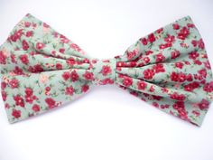 Green Floral Large Hair Bow Clip £6.00