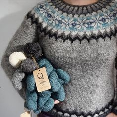 """Vintersol (""""winter sunshine"""") is inspired by a walk in a frosty, wintery meadow. This example is made with a soft and wooly double strand of Camilla Vad yarn, Knitting Stitches, Knitting Yarn, Free Knitting, Manta Crochet, Knit Crochet, Icelandic Sweaters, Fibre And Fabric, Fair Isle Pattern, Fair Isle Knitting"""