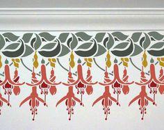 Border Wall Stencil - Fuchsia Flowers Border - Large, Reusable stencil for DIY Home Decor Stencil Wall Art, Leaf Stencil, Flower Stencils, Geometric Stencil, Motifs Art Nouveau, Art Nouveau Pattern, Art Floral, Fuchsia Flower, Stencil Designs