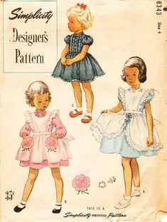 Simplicity 8343 #VintageKidsFashion Vintage Kids Fashion, Vintage Outfits, Vintage Girls Dresses, Vintage Dress Patterns, Little Girl Dresses, Vintage Children, 1950s Dresses, Skirt Patterns, Coat Patterns