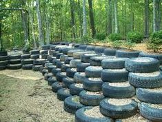 Ways to Recycle Old Tires - Preparedness Advice Earthship, Retaining Wall Design, Retaining Walls, Reuse Old Tires, Tire Garden, Tire Planters, Used Tires, Ways To Recycle, Reuse Recycle