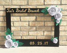 Giant photo booth frame for bridal shower in black with white