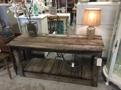 Barnwood Side Table/Island Shelf - Barnwood taken from a cattle-drive era ranch in Colorado. This would make a great bar, entry table, sofa table or kitchen island. Farmhouse chic.