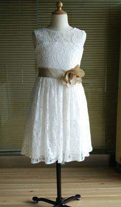 Ivory lace tulle flower girl dress tutu princess kids children girl dress junior bridesmaid dress with champagne sash detachable for wedding
