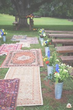 Boho wedding ceremony- Vintage rugs from Southern Vintage rentals, photography by faroutgalaxy