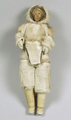 Doll, Canada. This doll from Canada has been dressed in a very detailed, exact copy of an adult female's clothing. It was collected among the Inuit in the early twentieth century. Dolls like this one would traditionally have been made by female relatives to teach children about identities and about their role in life. However, with the decline in wearing of traditional clothes, coupled with the increase in tourism, this type of doll was increasingly made for sale to tourists.