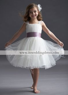 Discount Flower Girl Dresses,flower girl dress,little bride dress,tulle knee length dress with satin sash