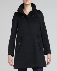 Single-Breasted+Swing+Coat+by+Burberry+London+at+Bergdorf+Goodman.
