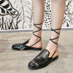 Shoespie Casual Black Backless Lace Up Loafers