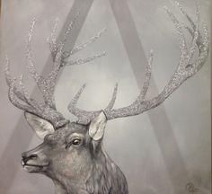 """Silberhirsch"" Moose Art, Animals, Mural Painting, Silver, Animales, Animaux, Animal, Animais"