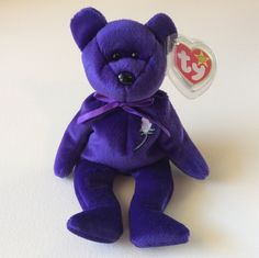 "TY BEANIE BABIES Purple Bear ""PRINCESS"" Stuffed Animal Collectible Toys School #Ty"