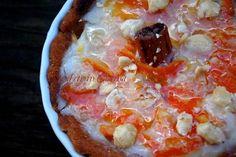 Crostata arancia senza glutine e crema senza uova, adatta ai celiaci e ad intolleranti alle uova e al latte, con latte di soia, profumata con zenzero e cannella