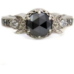 Rose Cut Black Diamond Crescent Moon Engagement Ring with Black and... ($1,350) ❤ liked on Polyvore featuring jewelry, rings, black white diamond ring, fancy diamond rings, gothic jewelry, black diamond ring and fancy rings