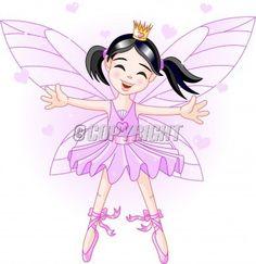 Cute violet fairy ballerina flying