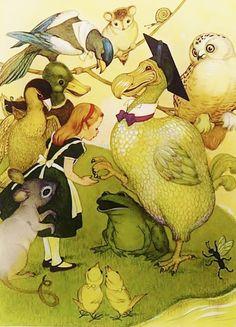 1950s A Dodo Birds Thimble, Vintage Alice in Wonderland Print Illustration