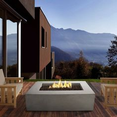 The Real Flame Baltic in. Fire Table - Glacier brings clean burning propane and beautiful design to your patio. This fiber-concrete fire table.