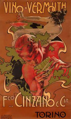 Hohenstein, Adolfo poster: Vino-Vermouth Cinzano  #TuscanyAgriturismoGiratola