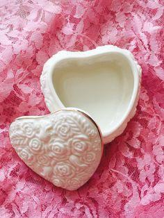 Ceramic Rose Jewelry Box Heart Jewelry Box by ShabbyVintageCouture